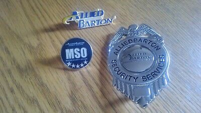 ALLIED BARTON SECURITY GUARD OBSOLETE PINS BADGE MSO Master Security Officer Set