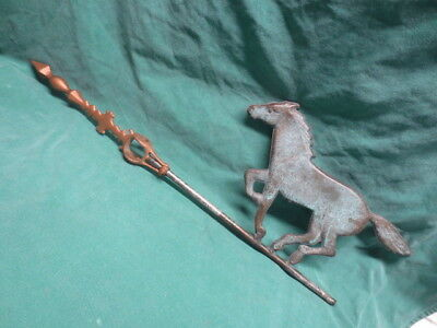vtg/antique Cast Iron Weathervane Arrow w/Hollow Copper Running Horse
