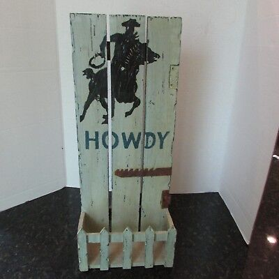 Shabby Distressed Rustic Cowboy Howdy Wall Hanging Planter Organizer Letter Hold