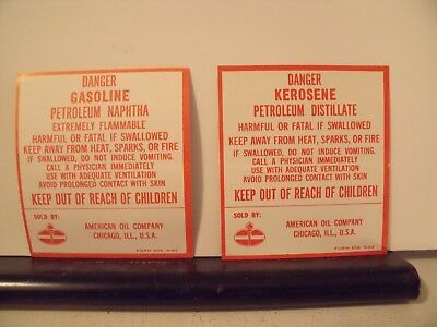 1962 American Oil Danger Kerosene Gasoline Can Labels Stickers Decals 1 Pair 3x3