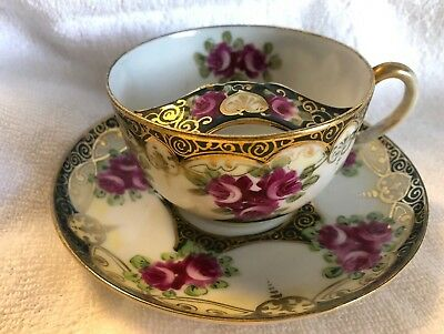 Antique Mustache Tea Cup and Saucer Unmarked Nippon? Pink Roses Gold Trim