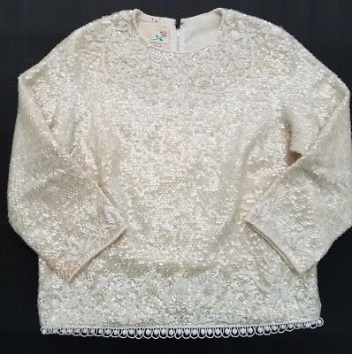 Vintage 1950s Sequin Beaded Sweater Top Ivory Iridescent fits M Lambs' Wool
