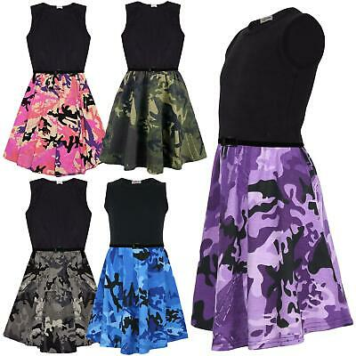 Kids Girls Skater Dress Camouflage Contrast Panel Summer Party Dresses 2-13 Year