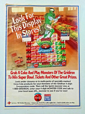 """Coca-Cola """"Monsters of the Gridiron"""" store disiplay ad-print art NFL Paper HTF!"""