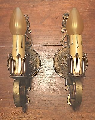 Brass Sconces Vintage Antique Wired Matched Pair Lights Lighting Fixtures 2A