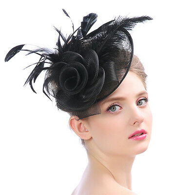Women Formal Western Elegant Ladies Banquet Small Noble Hat Flower Feather Linen