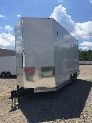 New 22' Stacker Trailer- White- Lift-Deck-Spread Axle-All Led Lights-.ready Now