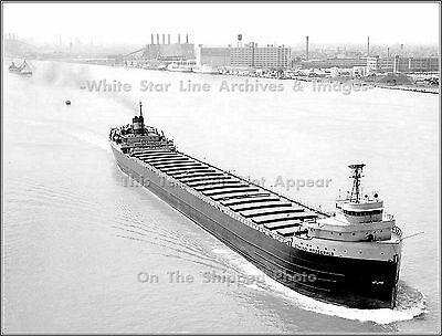 Photo: Aerial: SS Edmund Fitzgerald Passes Detroit Michigan Without Cargo, 1968
