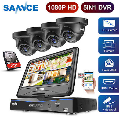 SANNCE 1080P HD Video 4CH/ 8CH LCD Monitor DVR 2MP CCTV Security Camera System