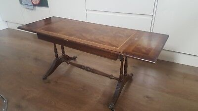 Antique Vintage Coffee Table Extending Drop Leaf Ends Lion Feet