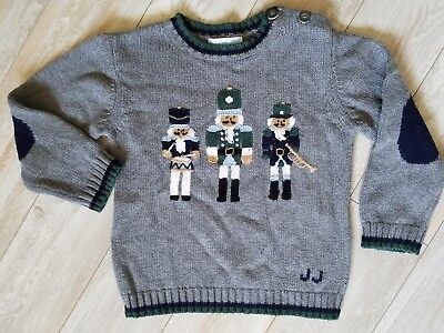 Janie and Jack 3t Drummer Boy pullover sweater gray xmas holiday portraits