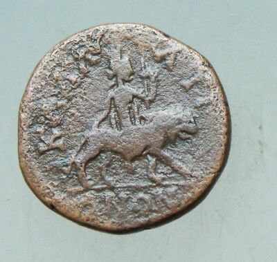 Julia Domna AE19mm Kalatis Moesia Cybele left riding on lion advancing right