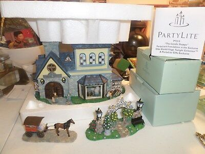 "Party Lite ""the Candle Shoppe"" Olde World Village Set Three (3) Pieces"