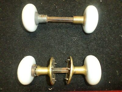Lot Of Two (2) Vintage White Door Knob Sets