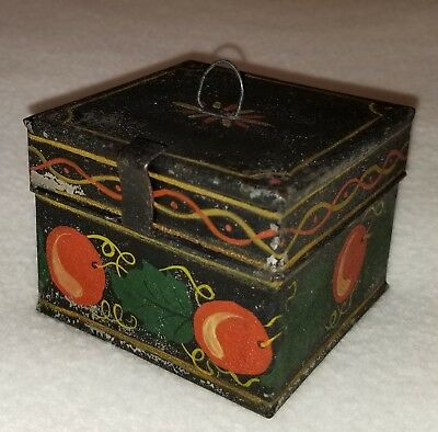 Early 19th C. Pennsylvania Painted Tin Tole Ware Decorated Spice or Storage Box