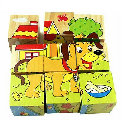 Cartoon 6 Sides Puzzle Blocks Children Educational Toy Cute Pattern for Birthday