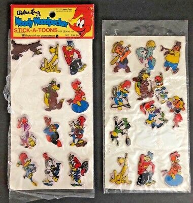 Vintage 1978 Lot of Walter Lantz Woody Woodpecker Stick A Toons Puffy Stickers
