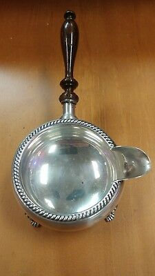 Beautiful Fisher Sterling Silver 4-Ftd Gravy Sauce # 1096 W/ Wood Handle