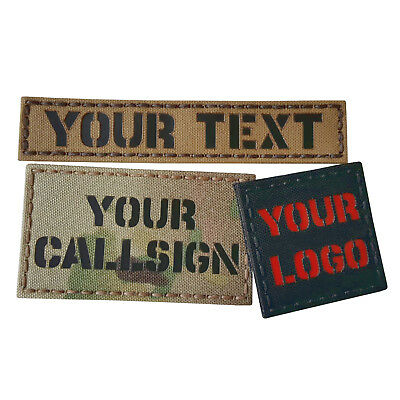 Custom Your IR Infrared Reflective Laser Cut Callsign Morale Tactical Patch #CST
