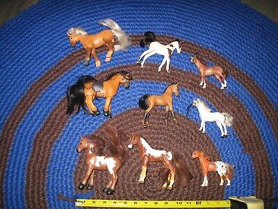 Lot of Plastic Toy HORSEs -   9  small little foal  & pony horses