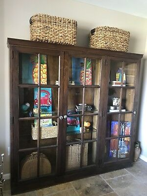 C1910 Antique Oak 3 Door Display Cabinet/bookcase,Original paned Glass Doors