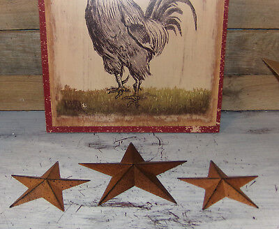 "Rusty Metal Barn Stars 3pc Sets 3.5"" 5.5"" 8"" Primitive Style Farmhouse Decor"
