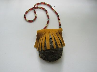 Red Slider Turtle Shell & Leather Beaded Medicine Bag Pouch Crystal Healing