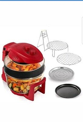 New* Red Cookshop 17L Digital Halogen Oven with Hinged Lid Multi Cooker UK