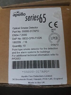 Apollo S65 Series 65 Optical Smoke Detector and base 10 in all £130