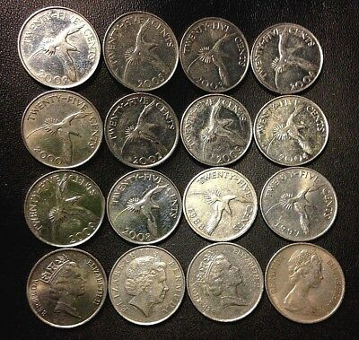 Old Bermuda Coin Lot - 25 Cent - 16 Excellent Low Mintage Coins - FREE SHIPPING