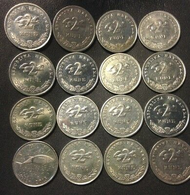 Old CROATIA Coin Lot - 16 High Quality Coins - 2 KUNA - Scarce Type - FREE SHIP