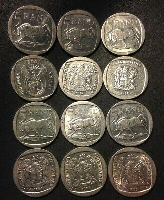 Old South Africa Coin Lot - 5 RAND - 12 Great Coins - FREE SHIPPING