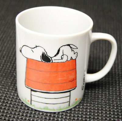 """Peanuts Snoopy Red Baron """"I Think I'm Allergic to Mornings"""" Coffee Mug Cup"""