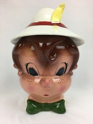 Vintage Metlox Poppytrail Cookie Jar Pinocchio Disney Ceramic 1950's Collectible