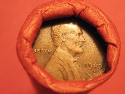 Mixed Small Cent Roll 1909-S/S Lincoln Wheat Cent & BU 1937 Wheat Cent (ends)