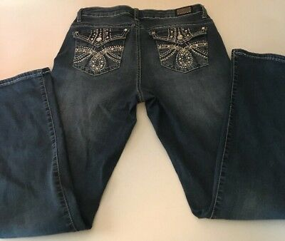 Womens Earl Jeans Slim Boot Size 10 Embroidered Blinged Pockets 31x31 VGUC
