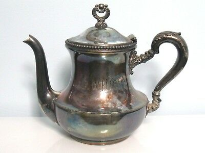 Cohannet Silver Co Quadruple Plate Teapot With Whiskey Advertising C.1800's Rare