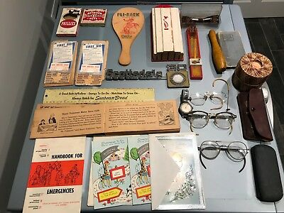 Junk Drawer Lot Antiques~old Glasses~Watch~First Aid~Much More