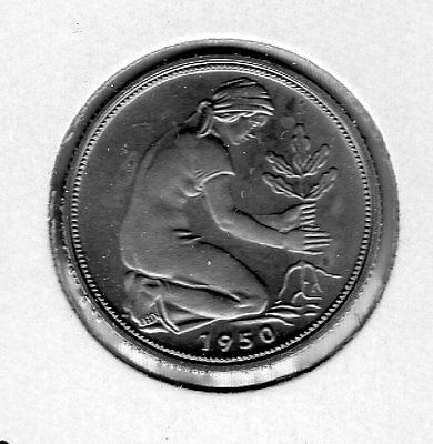 1950 G Germany 50 p. Very nice looking coin. Includes Free shipping in US.