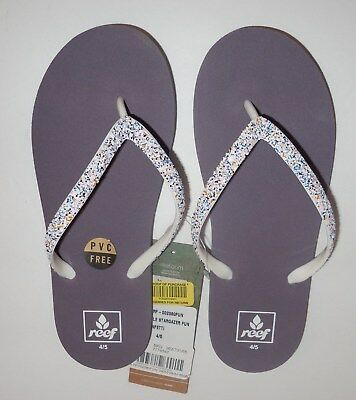 35f69dcc4f960 REEF Little Stargazer Fun Girls 4 5 Youth Flip Flops Sandals 4 5 New  Funfetti