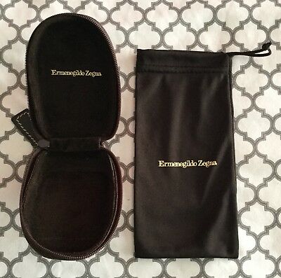 Ermenegildo Zegna Zip Around Logo Storage Case + Logo Drawstring Pouch NEW