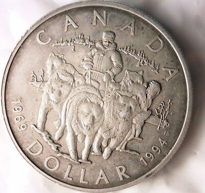 1994 CANADA DOLLAR - AU - VERY RARE TYPE SILVER CROWN - Low Mintage - Lot #521