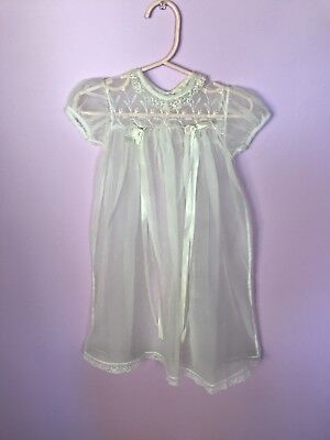 VTG Baby Madonna Christening Gown Baptismal Dress Organdy Delicate Embroidery!