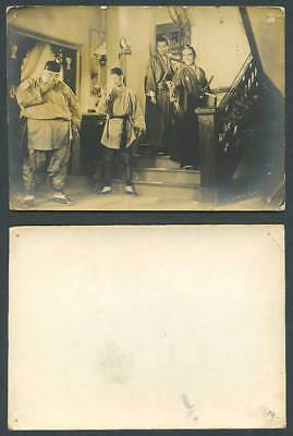 China Japan Old Real Photo Card Chinese & Japanese Stage Actors Samurai Costumes