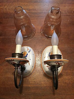 Wired Pair Antique Porcelain Wall Sconce Fixtures W Large Slip Shades Globes 9D