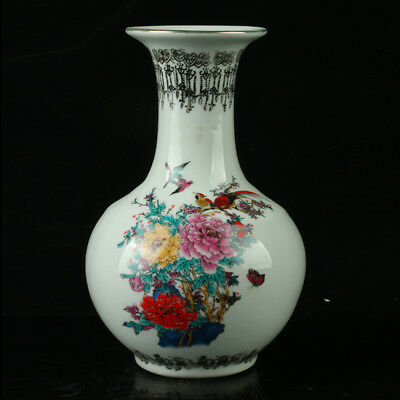 Chinese Porcelain Hand-painted Flowers & Birds Vase W Qianlong Mark R1129`b