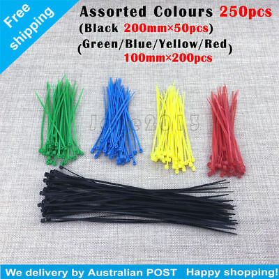 250pcs ASSORTED Colours Nylon Cable Ties Loop Tie Wire Self-Locking Strap