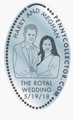 Rare Prince Harry Meghan Markle Royal Wedding Elongated Silver Color Penny Coin