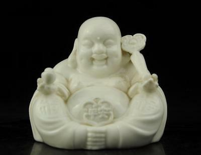 china old Dehua white porcelain carved Ruyi Wealth Maitreya Buddha statue b02