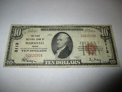 $10 1929 Marshall Texas TX National Currency Bank Note Bill Ch. #3113 FINE